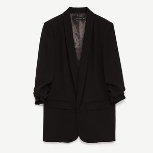 Zara Crepe Blazer with Gathered Sleeves